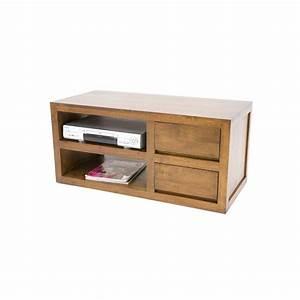 Meuble Tv 90 Cm : meuble tv h v a 2 tiroirs 90cm olga pier import ~ Teatrodelosmanantiales.com Idées de Décoration