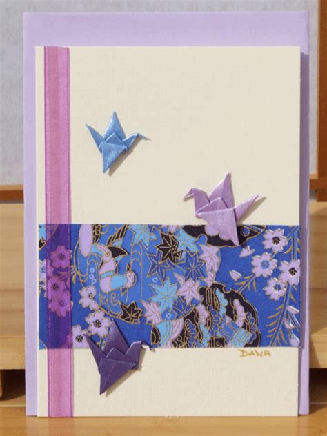 card handmade  origami cranes  blue
