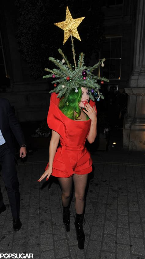 lady gaga dressed as a christmas tree popsugar celebrity