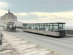 Navette Mont Saint Michel : photo navette hypomobile sur le pont passerelle du mont saint michel ~ Maxctalentgroup.com Avis de Voitures