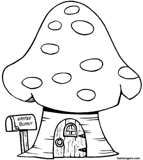 print  easter bunny mushrooms house coloring page