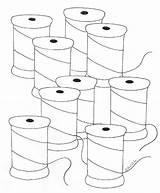 Thread Spools Coloring Weefolkart sketch template