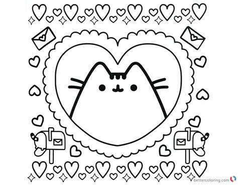 pusheen coloring pages pusheen  heart pattern  printable coloring pages