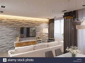 Interior Design In Stile Scandinavo  Soggiorno E Cucina  3d U0026 39 Illustrazione  Il Rendering Dell