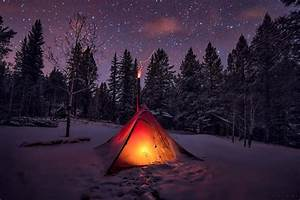 Winter, Snow, Tents, Sky, Trees, Night, Forest, Wallpapers, Hd, Desktop, And, Mobile, Backgrounds