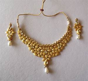 Designer Necklace in Golden Matt Finish-Online Shopping-