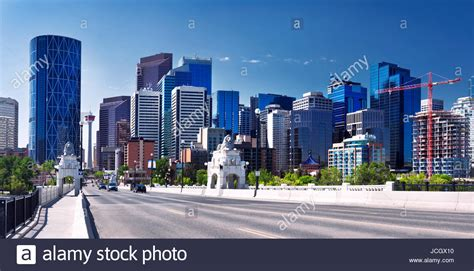 Calgary City Downtown Skyline Panoramic View From Centre Street Stock Photo