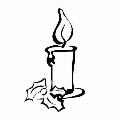 Candle Christmas Coloring Candles Birthday Sketch Clipart