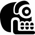 Mexico Ancient Skull Stone Icon Icons Vector