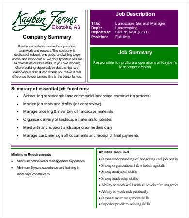 landscaping job description templates