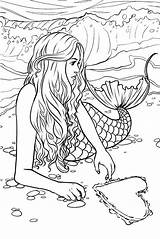 Mermaid Coloring Pages Adults sketch template