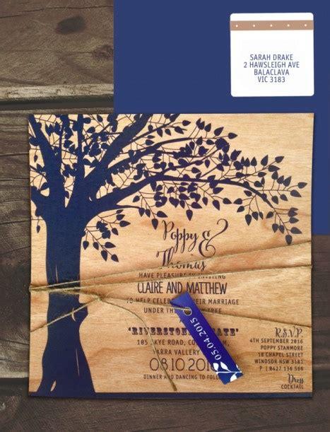 printed  wood    oak invitation