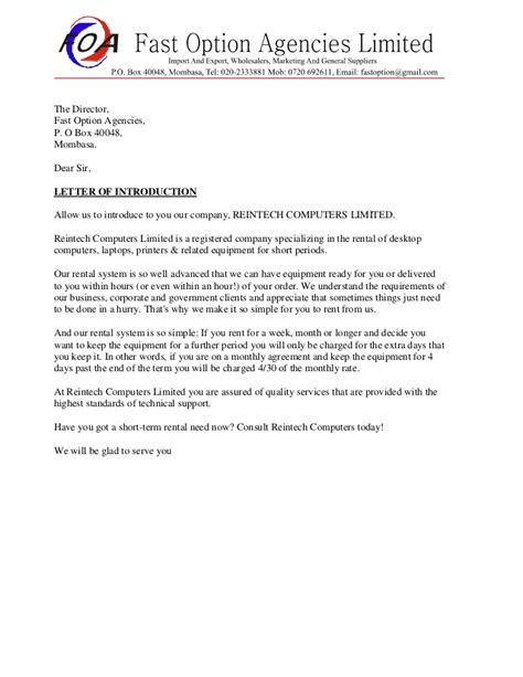 company introduction letter sle business introduction letter 20926