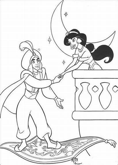 Coloring Pages Disney Princess Jasmine Cartoon Aladdin