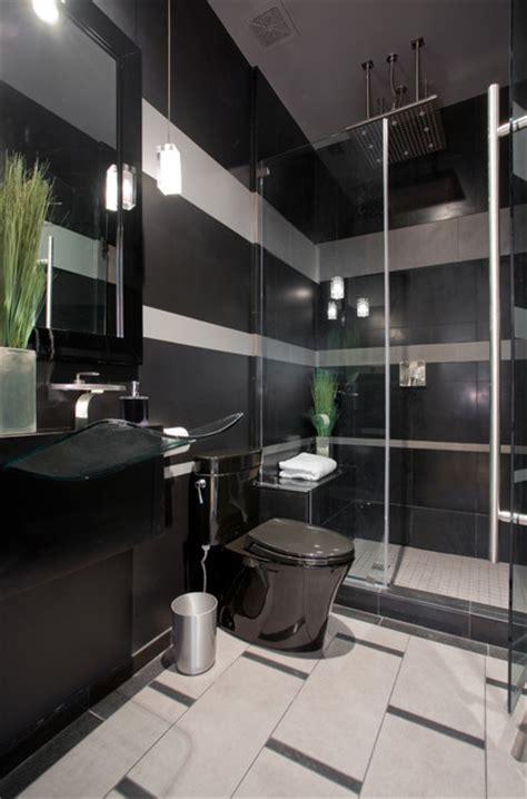 black  gray striped contemporary bathroom