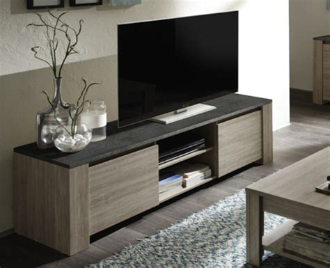 deco cuisine moderne meuble tv 2 portes elba chene gris ardoise