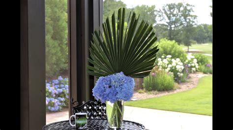 palm frond hydrangeas flower arrangement youtube