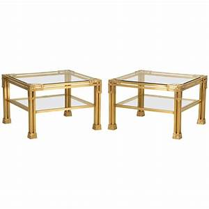 pair of solid brass coffee tables attributed to valenti With solid brass coffee table