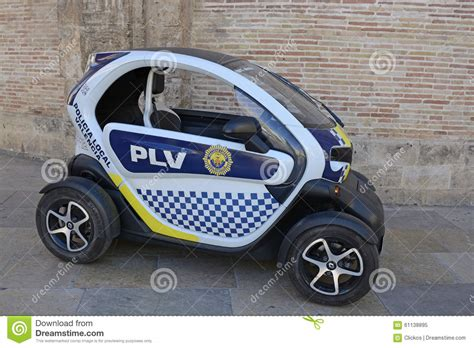 Small Electric Police Car In Valencia, Spain Editorial