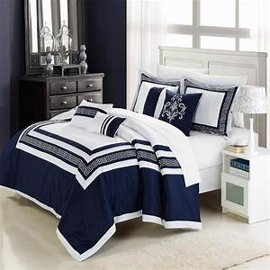 Navy, Blue, And, White, Comforter