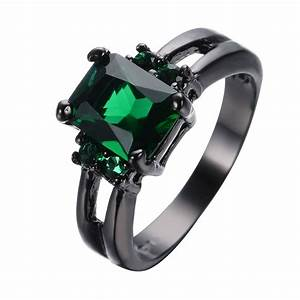 Princess cut green emerald wedding rings black gold filled for Emerald green wedding ring