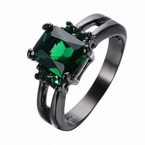 Princess cut green emerald wedding rings black gold filled for Emerald green wedding ring