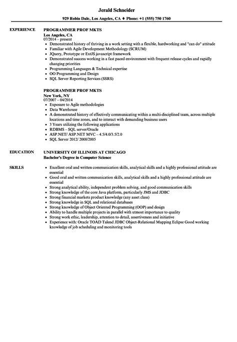 programmer prof mkts resume sles velvet