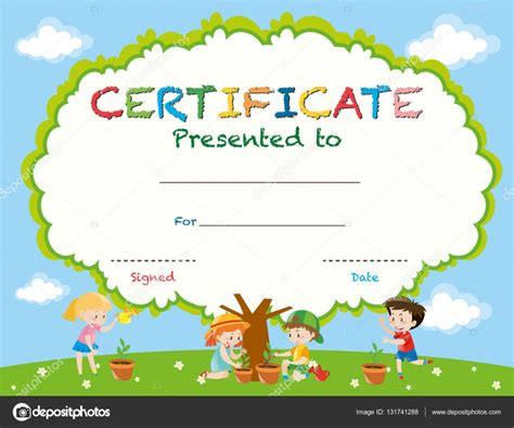 certificate templates with photos certificate template with kids planting trees stock