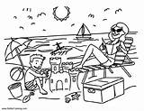 Coloring Pages Summer Vacation Beach Fun Printable Adults sketch template
