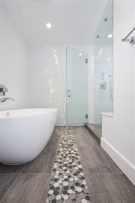 mod white bathroom boasts soaking tub walk  shower hgtv