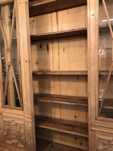 english pine breakfront cabinet antique  art