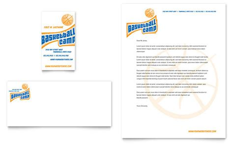 basketball sports camp business card letterhead template