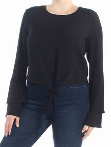 Self E Womens New 1124 Black Tie Front Bell Sleeve Casual