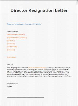 resignation  board  directors letter cover letter