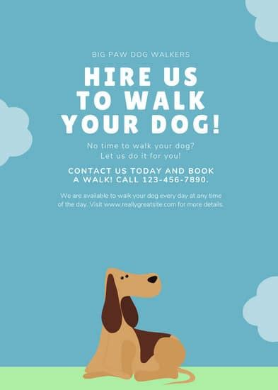 customize  dog walker flyer templates  canva