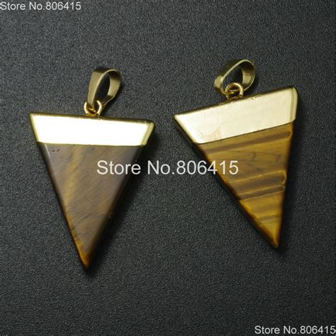 Gold Natural Tiger Eye Gems Stones Triangle Pointed
