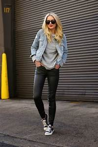 Picture Of black leather leggings outfit