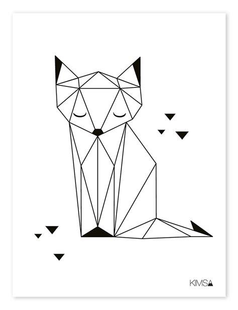 bureau design suedois lilipinso kinderzimmer poster 39 origami fuchs 39 schwarz weiß