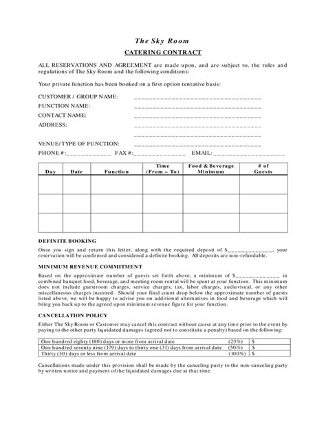 Catering Contract Template - 6 Free Templates in PDF, Word