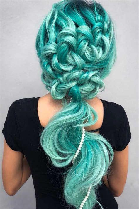 hairstyles haircuts  women    aquamarine hair color   mermaid