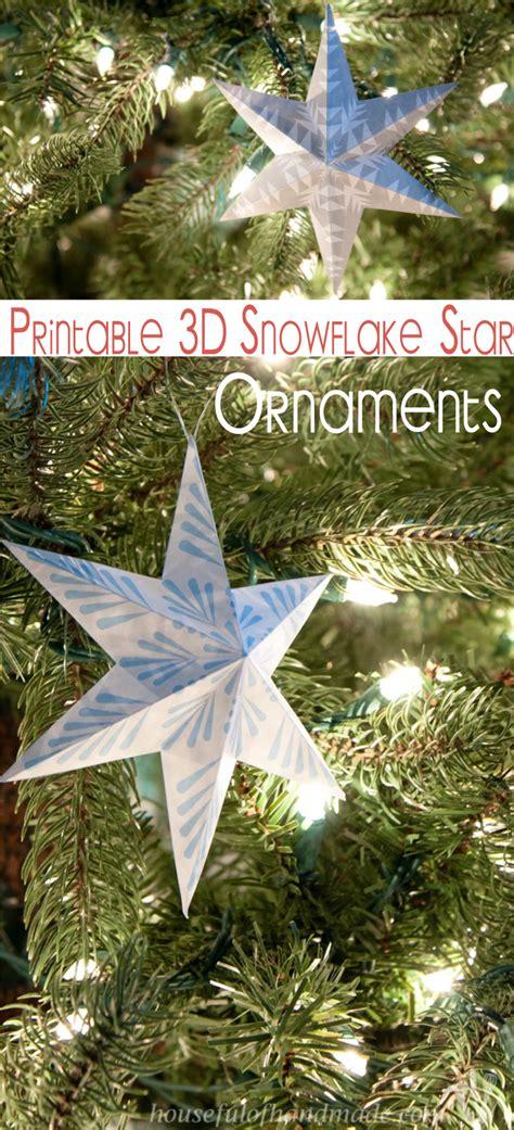 printable  snowflake star ornaments   creative
