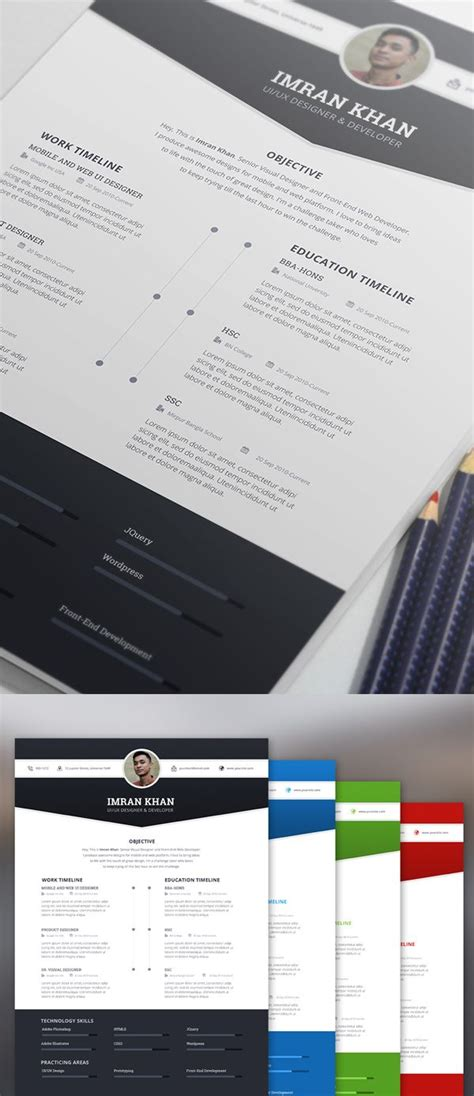 Cv Coloré Gratuit by Free Resume Template Psd 4 Colors Cv