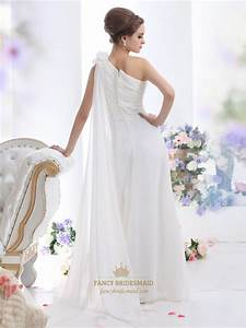 ivory one shoulder chiffon beach watteau train wedding With chiffon bridesmaid dresses for beach wedding