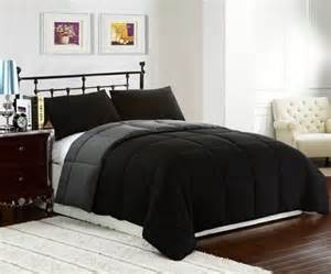 black grey king size 3pc reversible down alternative comforter set cozybeddings on artfire