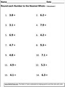 Rounding to the Nearest Whole Number Worksheets