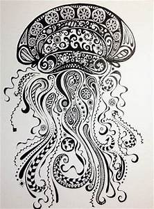 Abstract Jellyfish- Ink and Pen Drawing. Original Artwork ...