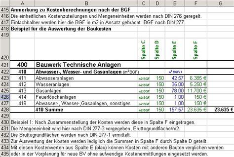 altbausanierung kosten tabelle din 276 kostenkontrolle mit excel datei