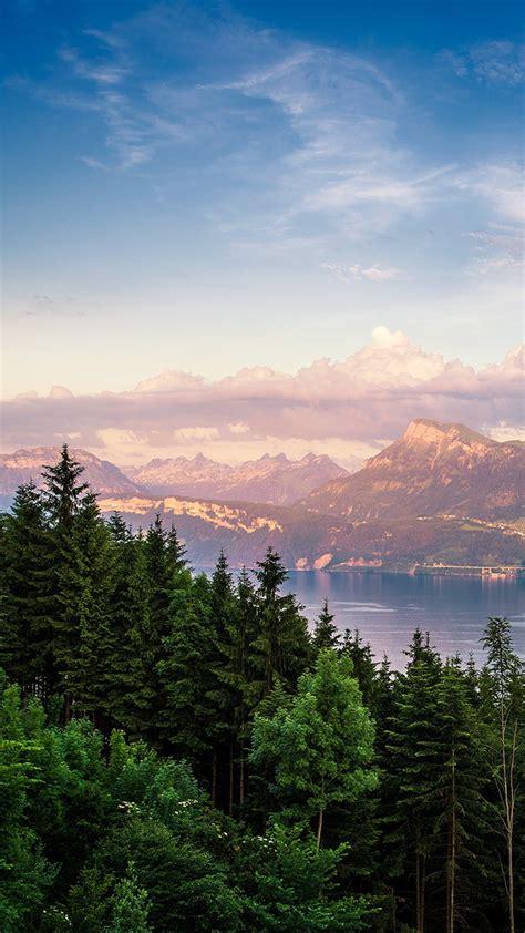 switzerland mountains clouds sunset iphone wallpaper