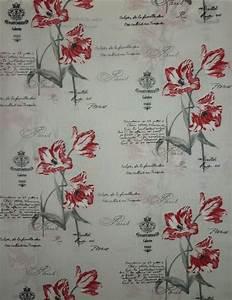 Stoff Auf Rechnung : deko stoff vorhang blumen schrift paris natur rot schwarz blickdicht meterware ebay ~ Themetempest.com Abrechnung