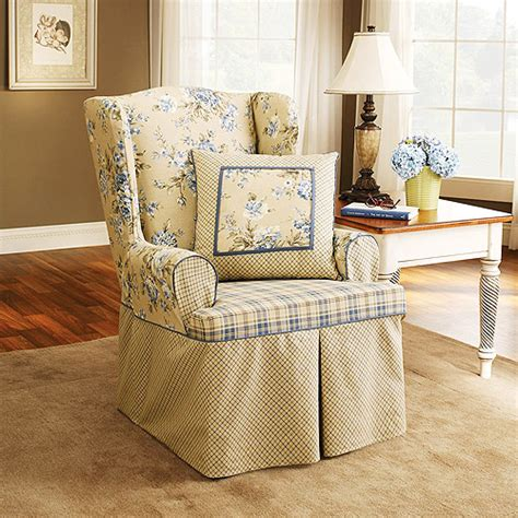 Walmart Wing Chair Slipcovers by Sure Fit Wing Chair Slipcover Blue Walmart